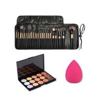 4pcs Makeup Brushes Set Tools Pro Foundation Soft Sponge Puff 15 Color Concealer Practical Cosmetic Tool Kit Set