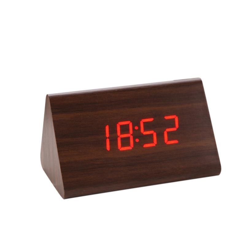 Creative Triangle Tempreture Display Sounds Control Electronic Digital LED Desktop Table Wooden Alarm USB Clock Despertador
