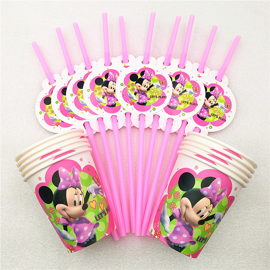 20pcs/set minnie mouse party supplies cartoon drinking straws cup for birthday party festival tableware decoration