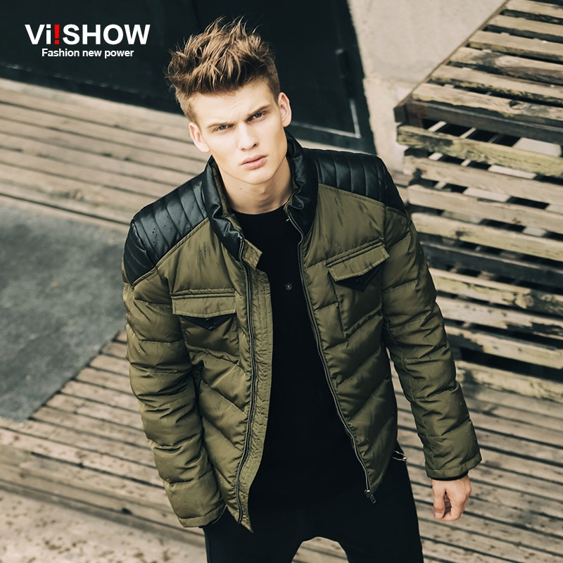 Aliexpress.com  Buy VIISHOW Brand Winter Leather Jacket Men Parka Army Green Fashion Duck ...