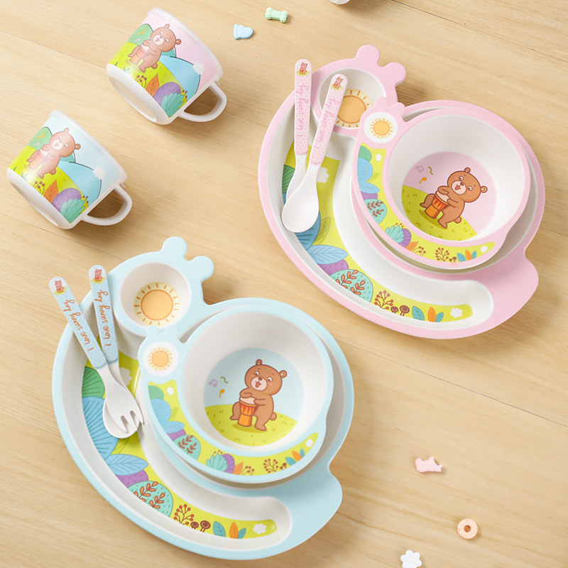 5 pièces De Dessin Animé Ours enfants ensemble de vaisselle en fibre de bambou Bébé bol ensemble enfants vaisselle ensemble