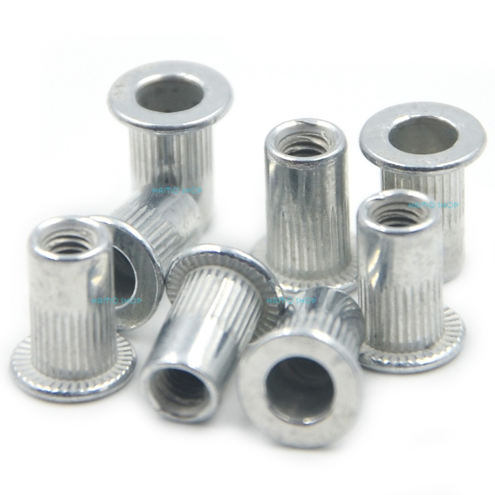 100pcs M3 Flat Head Rivet Nut Nutserts Blind Insert Rivnut Steel Threaded Multi stainless steel nylon insert hex lock nut 4 40 qty 2500