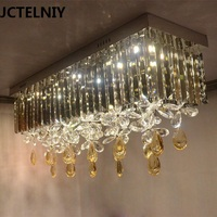 2017  rectangle K9 crystal LED ceiling lamp square light fixture for living room bedroom Three color LED light changing