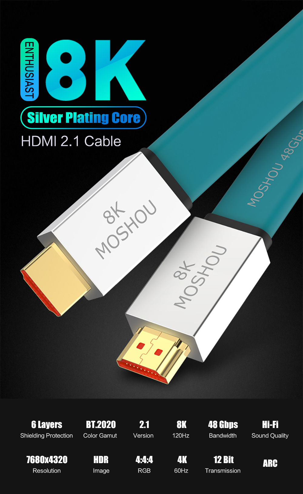 UHD High-Strength HDMI 2.1 Cable Ultra-HD 8K HDMI 2.1 Cable 48Gbs HDR 4:4:4