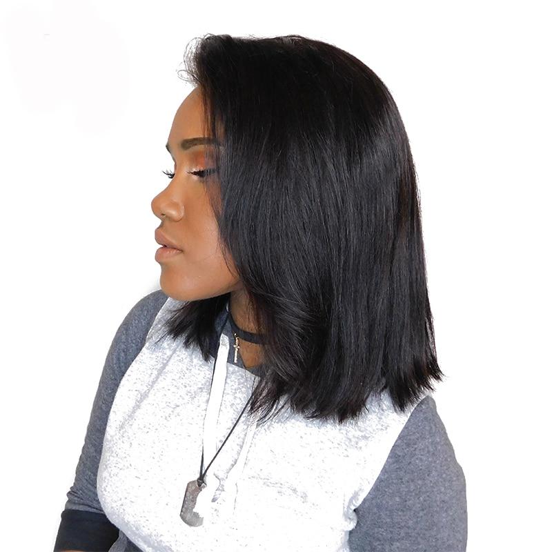 Dentelle Avant Perruques De Cheveux Humains Densité 250% Bob - Cheveux humains (noir) - Photo 1