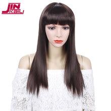 купить JINKAILI 22 Long Straight False Hair with Bangs Blonde Brown Black Wig Synthetic Cosplay Wigs for Black Women Heat Resistant дешево