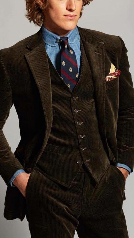 Latest Coat Pant Designs Brown Velvet Men Suit Corduroy Formal Slim Fit Business Tuxedo Prom Style Blazer Tailor 3 Piece Terno