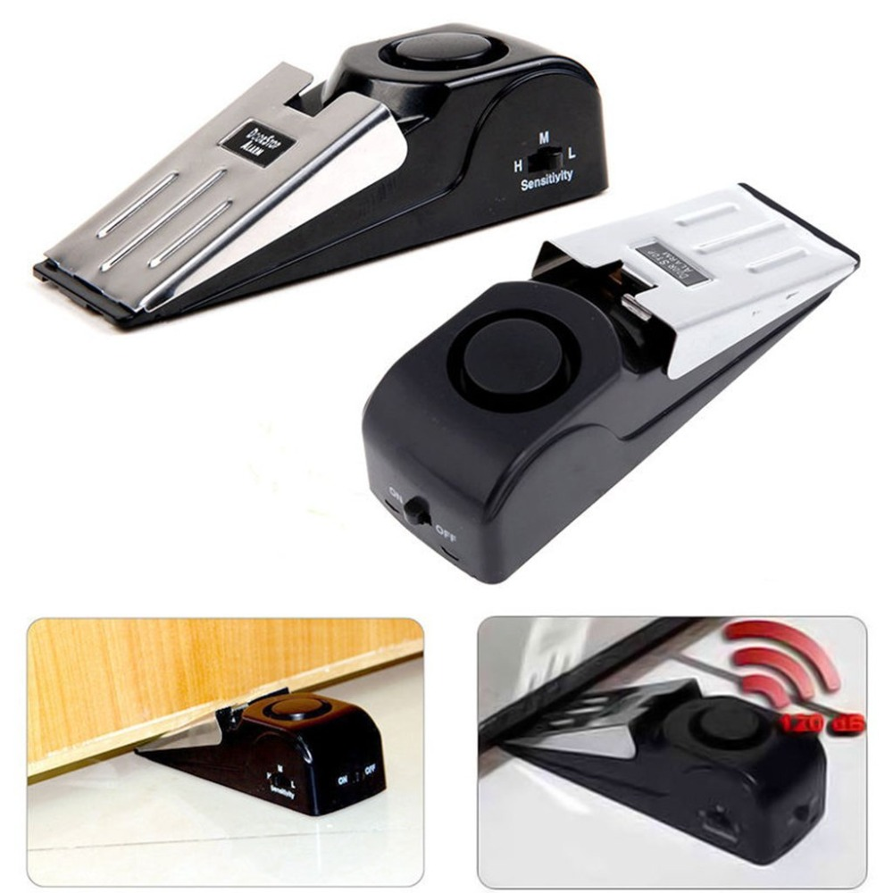 Door Stop Alarm Mini Wireless Vibration Triggered Home Wedge Shaped Stopper Alert Security System Block Blocking System 120db door stop alarm home security wedge shapped stopper blocking system for travelling