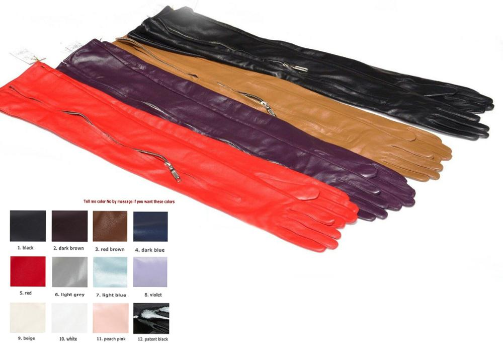 Custom Made 30cm To 80cm Long Top Sheep Leather Mid Invisible Zipper Long Gloves Multi Colors