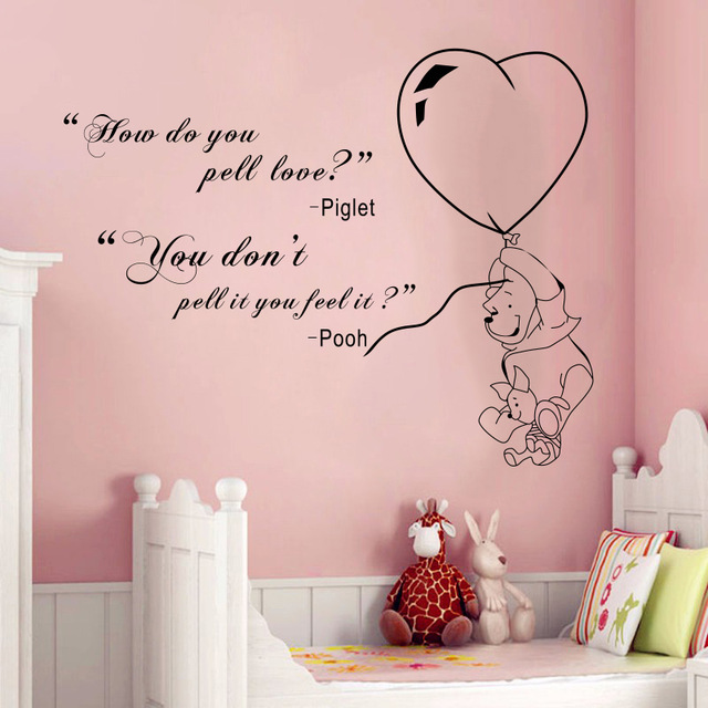 US $8.36 6% OFF|Winnie the Pooh & Piglet to venture home decoration Baby  Quote Wall Decal Nursery Removable Wall Stickers home decoration-in Wall ...