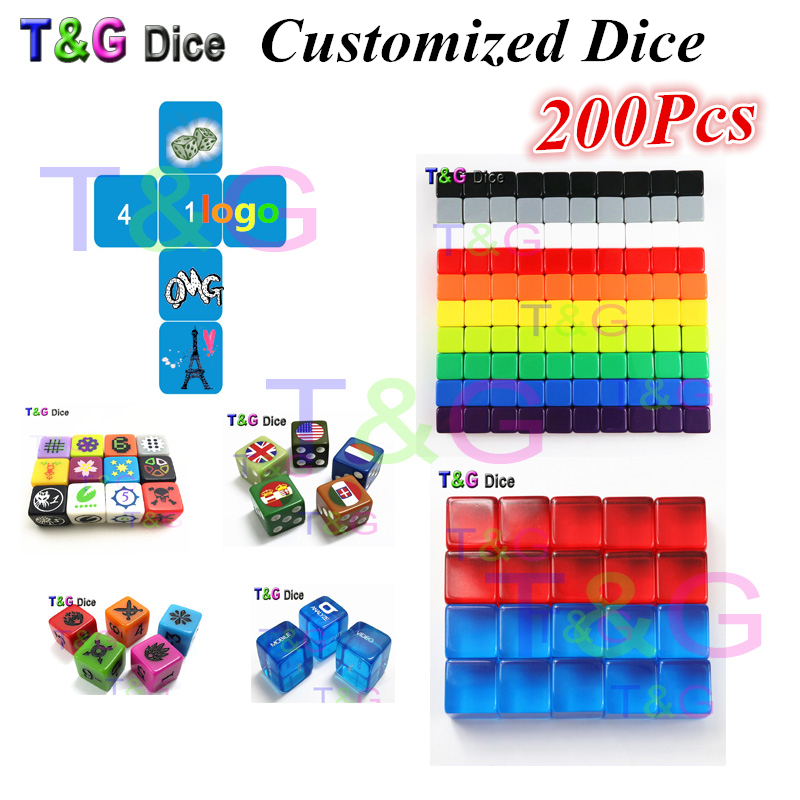 T&G Customize Blank Dice/Die,16mm D6 Dice for Personalized Logo!Printed or Laser Engraved Logo as per your design,Colorful!