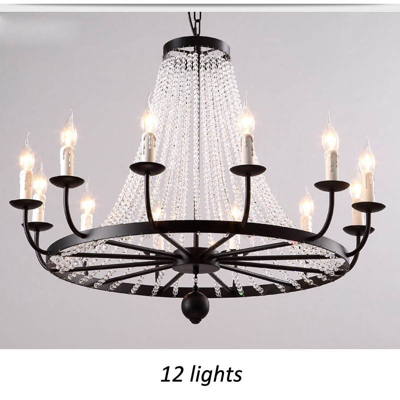ZX American Iron Candle Pendant Lamp European Crystal LED E14 Droplight LOFT Retro Chandelier for Living Room Restaurant Shop wrought iron chandelier e14 3pcs led candle light white vintage rustic pendant lamp for home study room living room