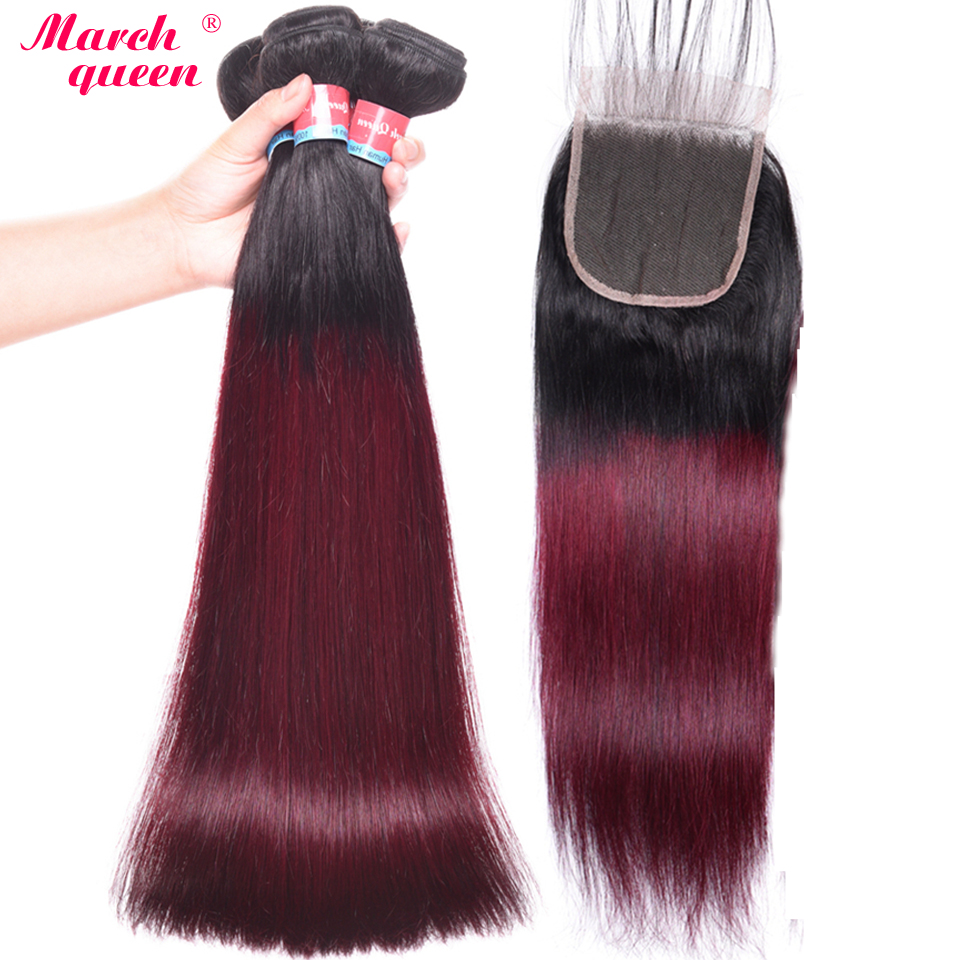 March Queen Burmese Straight Hair With Closure Ombre T1B 99J Black To Red Wine Human Hair