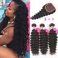 Peruvian Deep Wave With Closure 3 Bundles Brown 8a Grade Virgin Unprocessed Peruvian Virgin Hair Deep Curly Human Hair Bundles