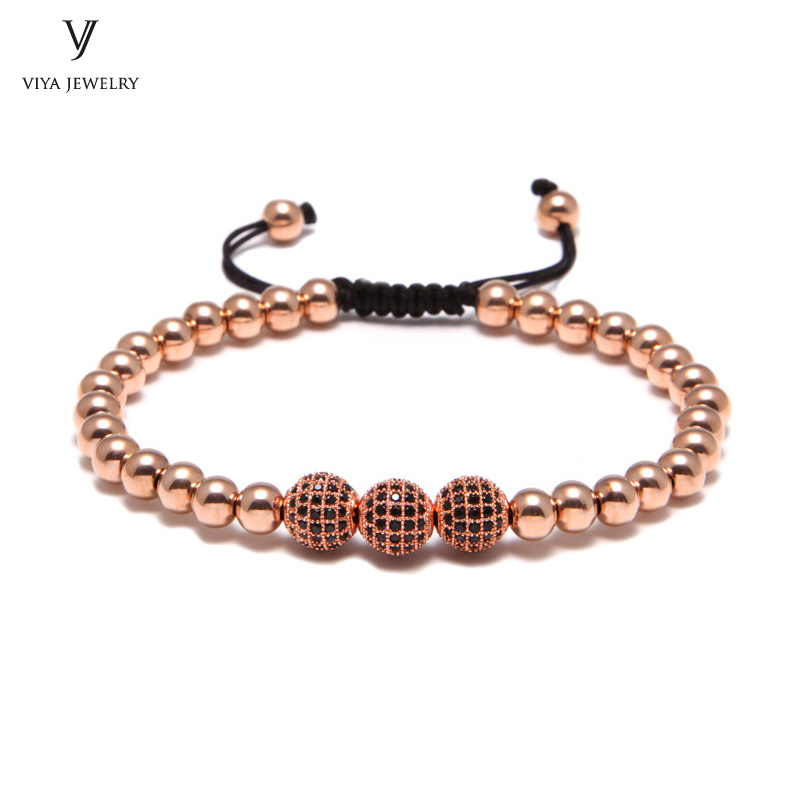 New Rose Gold Beads Bracelet Fashion Luxury Bracelet Men's Bracelet With Pave Setting Black CZ Beads Braiding Bracelet new anil arjandas macrame bracelets 18pcs rose gold micro pave black cz stoppers beads braiding macrame bracelet for men jewelry
