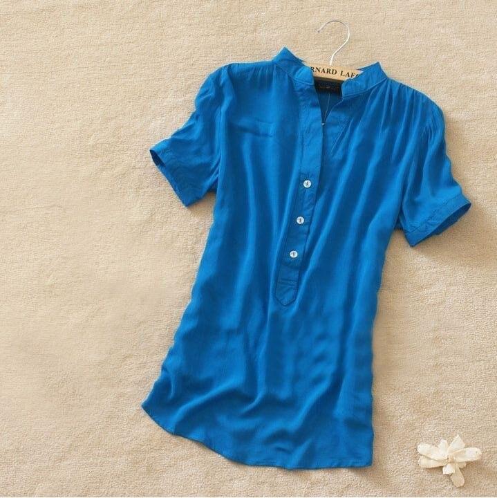 Retail Free shipping new fashion womens summer shirt silk tops ...
