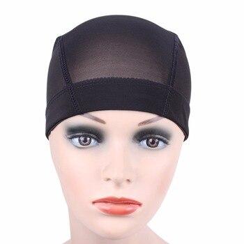 2 Pcs/lot black Dome Cornrow Wig Caps Easier Sew In Hair Stretchable Weaving Cap Elastic Nylon Breathable Mesh Net hairnet