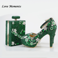 Love Moments Women wedding shoes with matching bags 9cm Block Heel Ladies Platform shoes green crystal Luxury Ladies Party shoe