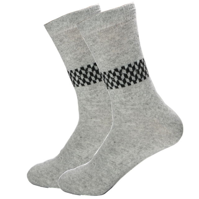 Rabbit Wool Thick Warm Quality knitted Men Socks Autumn Winter Style Business Casual Cubic Pattern Foreign Soft Large Sock Meias