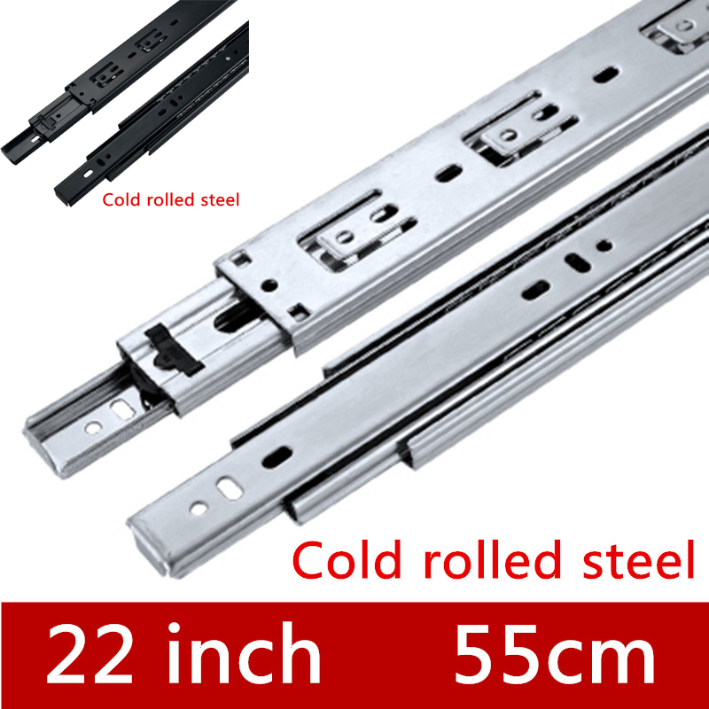 2 Paires 22 pouces 55 cm Trois Sections Glisser les Meubles Tiroir Coulissant Piste accessoires Rail de Guidage pour le Matériel Raccords