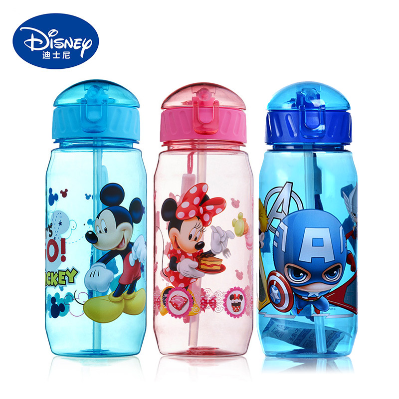Disney Kids Water Bottles 450ml Minnie Mickey Mouse Cartoon Cups with Straw Captain Sport Bottles Girls Princess Feeding Cups|Water Bottles| |  - AliExpress