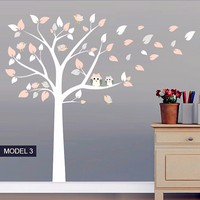 New Fashion Owl Standing Huge White Tree Wall Sticker Baby Nursery Bedroom Wall Art Decor Owl And Birds Decals