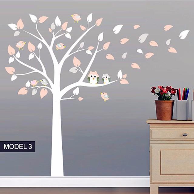 Muursticker Witte Boom.Us 32 18 30 Off Nieuwe Mode Uil Staande Enorme Witte Boom Muursticker Baby Nursery Slaapkamer Wall Art Decor Uil En Vogels Decals In Nieuwe Mode Uil