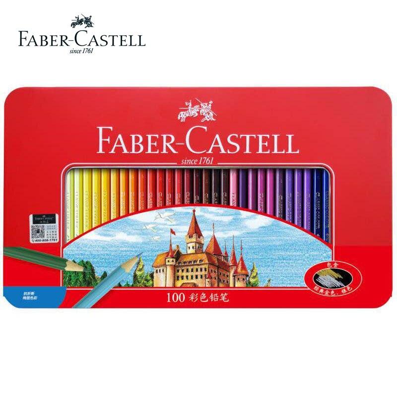 Original Faber Castell château huileux 100 crayons De couleur hexagonaux étain professionnels Lapis De Cor pour dessin croquis Art fournitures