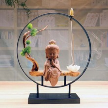 Creative The Lovely Little Monk Buddha Censer Backflow Incense Burner For Living Room and Home Office Teahouse Home Decor  Zen