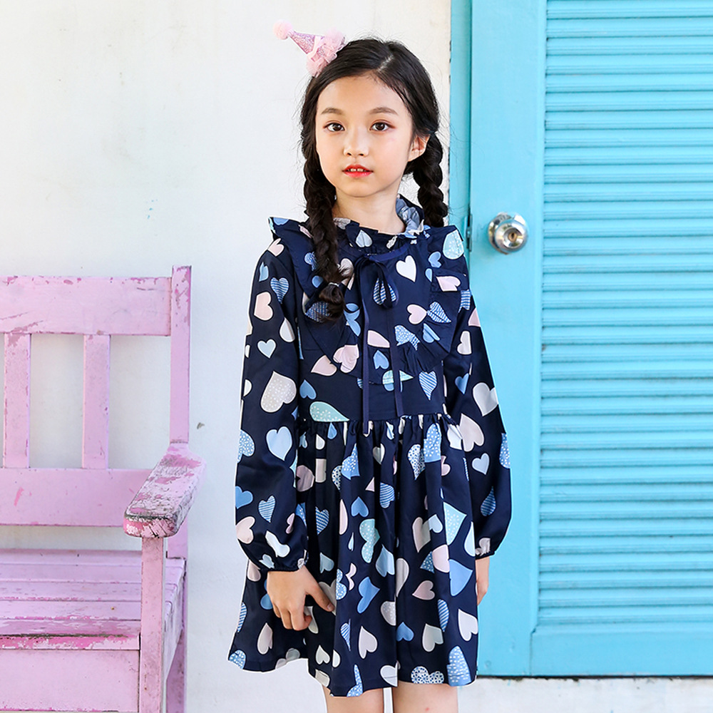 Little Girls Dress 2018 New Arrival Love Print Long Sleeve Toddler Girls Dress jessica simpson little girls kenzie graphic with pleather sleeve
