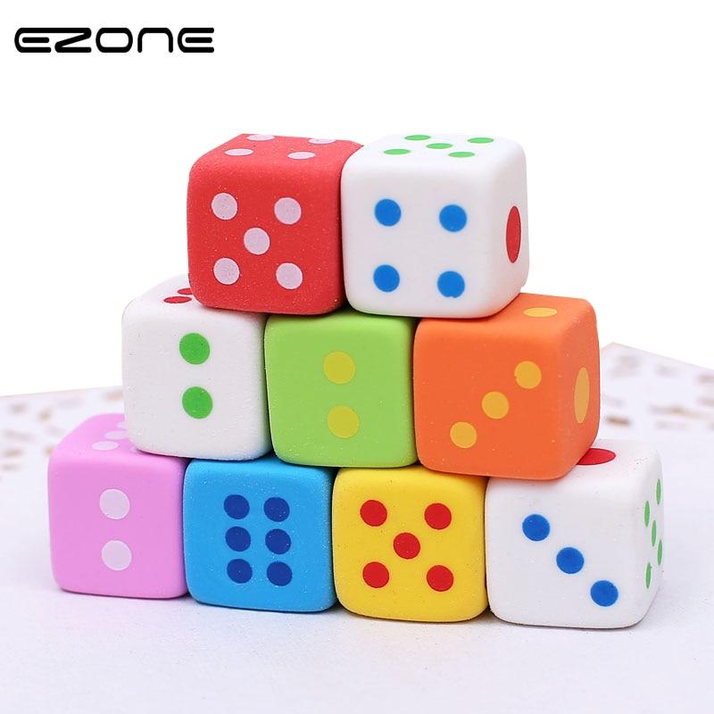EZONE 3PCS/Set Novelty Dice Shaped Erasers for Kids Candy Color Rubber Eraser Kawaii Stationery School Supplies Random