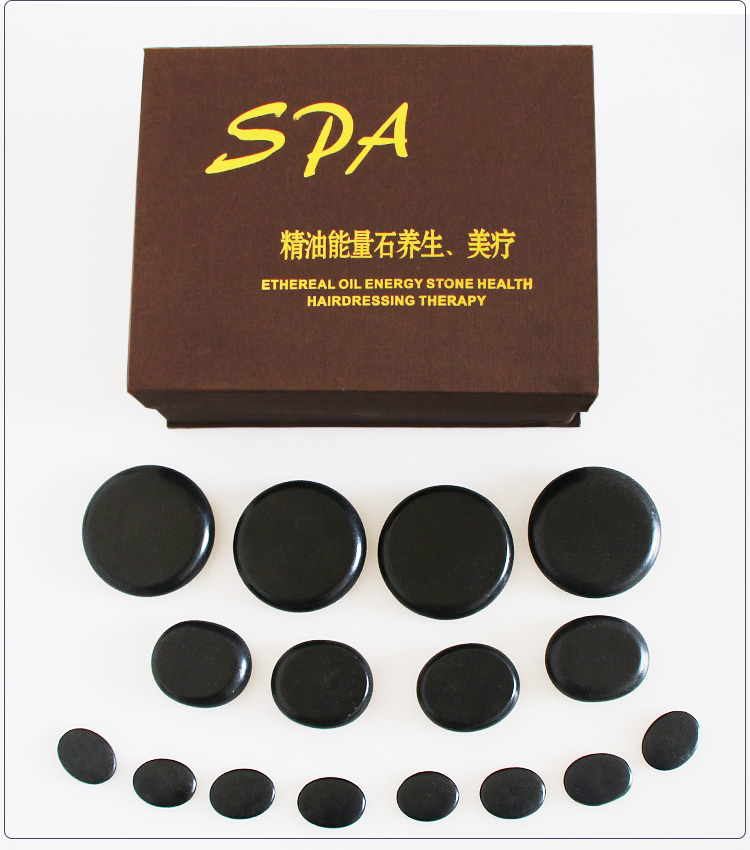 16pcs/set lava Natural Energy massage stone set hot spa rock basalt stone 16pcs with heater bag Body massager