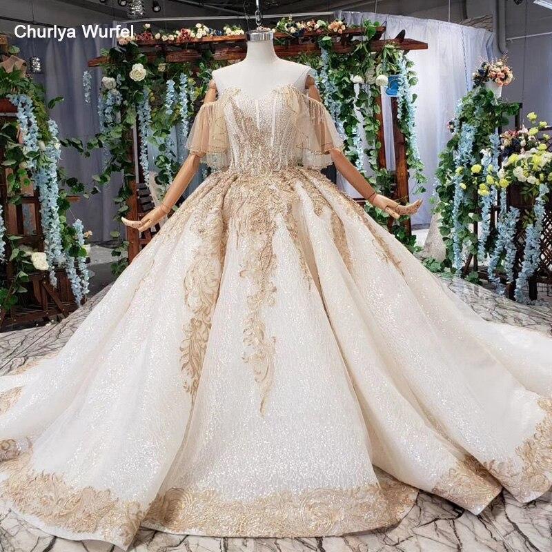 HTL535 off spalla abito da sposa con il treno dell'innamorato di champagne del merletto vestito da sposa 2019 prezzo reale vestido de noiva formato pluz
