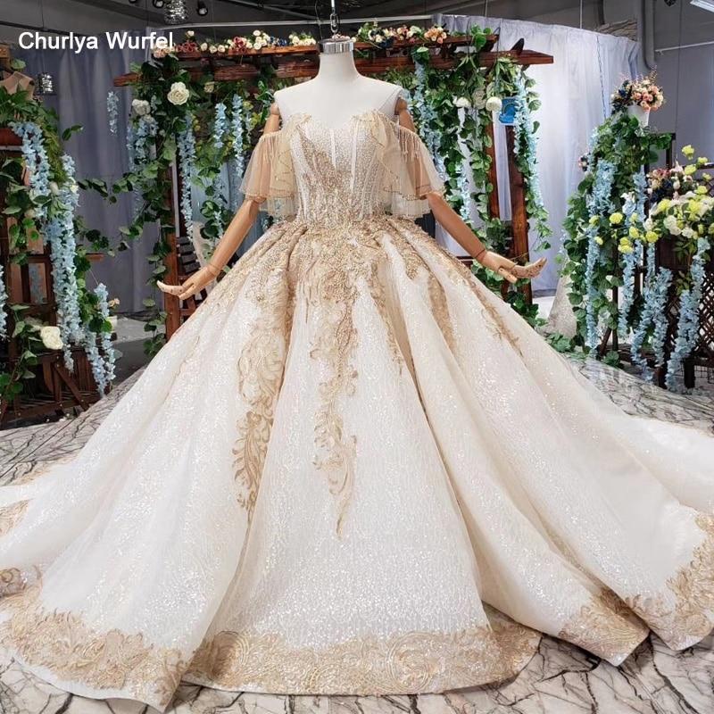 HTL535 off the shoulder wedding dresses with train sweetheart champagne lace bride dress real price vestido de noiva pluz size