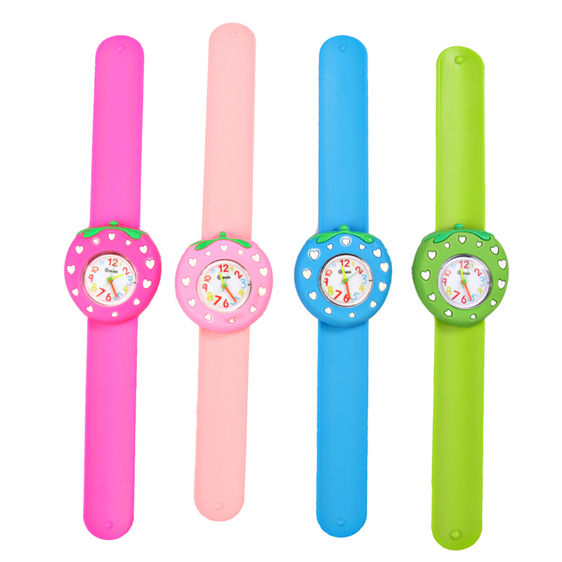 3D Cartoon Children's Watches Cute Kids Quartz Watch Strawberry Silicone Slap Wristwatch Creative Pointer Boys Girls Baby Clock