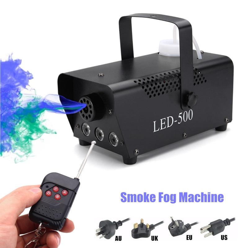 цена на Professional RGB LED Stage Lighting Effect Smoke Ejector Fog Machine Night Light Remote Controller DJ Party KTV Bar Show 500W