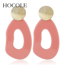 hot deal buy hocole fashion big black blue yellow geometric drop earrings for women girls alloy acrylic geometric earrings ethnic jewelry