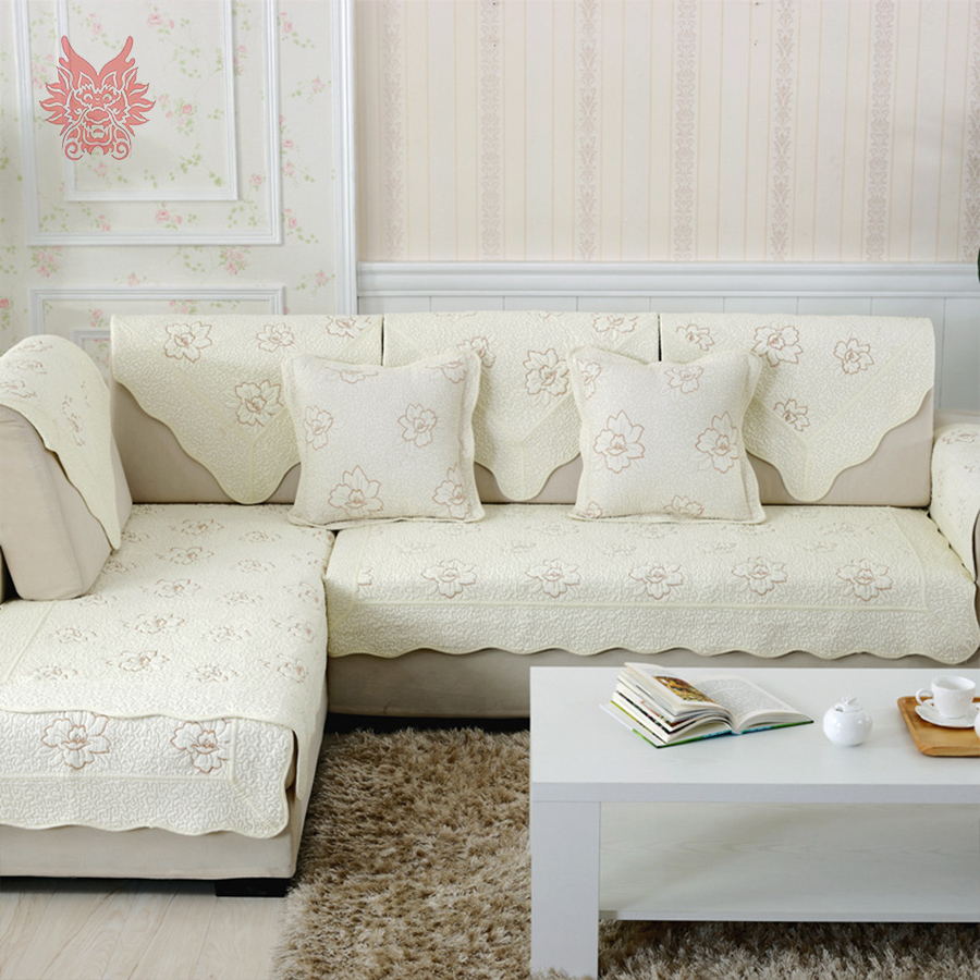 pastoral style cream brown floral embroidery sofa cover quilting slipcovers canape slipcover home decor free shipping sp3309