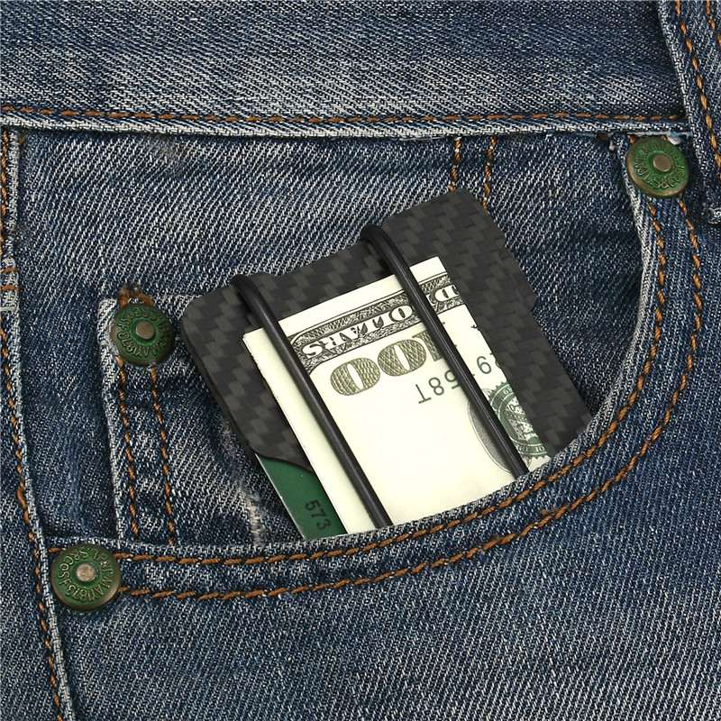 AEQUEEN Carbon Fiber Credit Card Holders RFID Money Clamp Metal ...