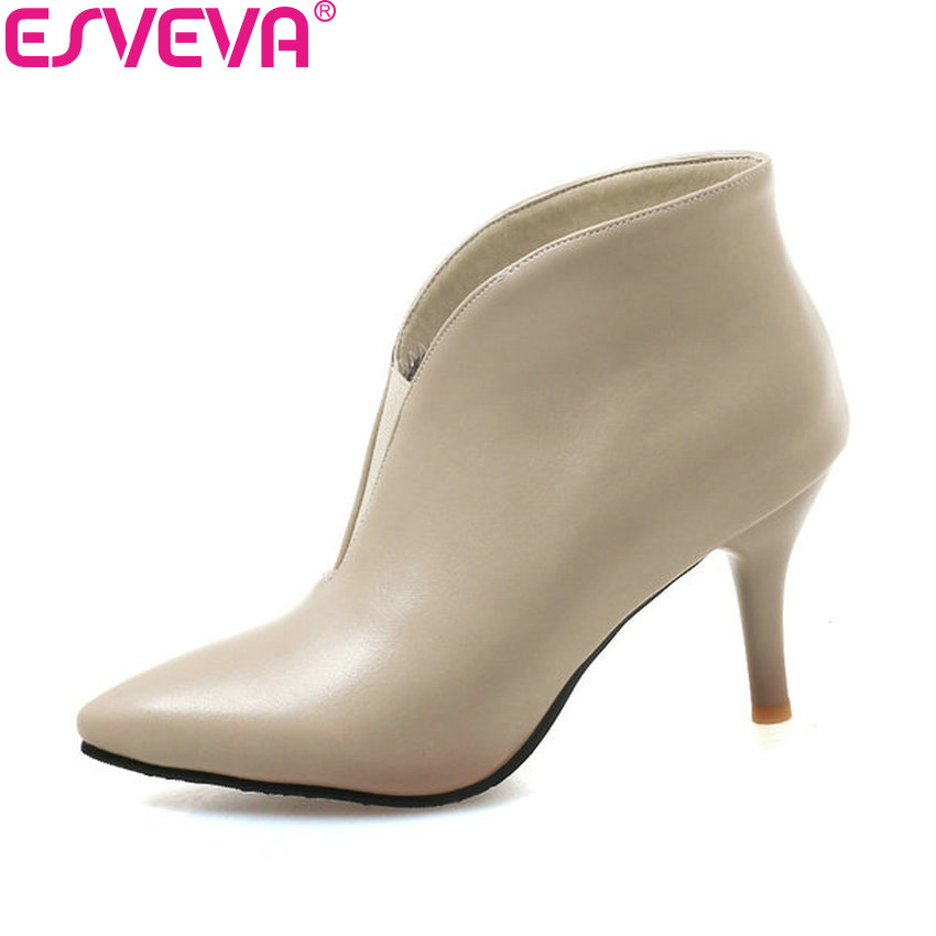 ESVEVA 2019 Women Shoes Slip on Pointed Toe Boots Ankle Boots Thin High Heels Short Plush Autumn Shoes PU Boots Big Size 34-43 esveva 2018 women boots zippers black short plush pu lining pointed toe square high heels ankle boots ladies shoes size 34 39