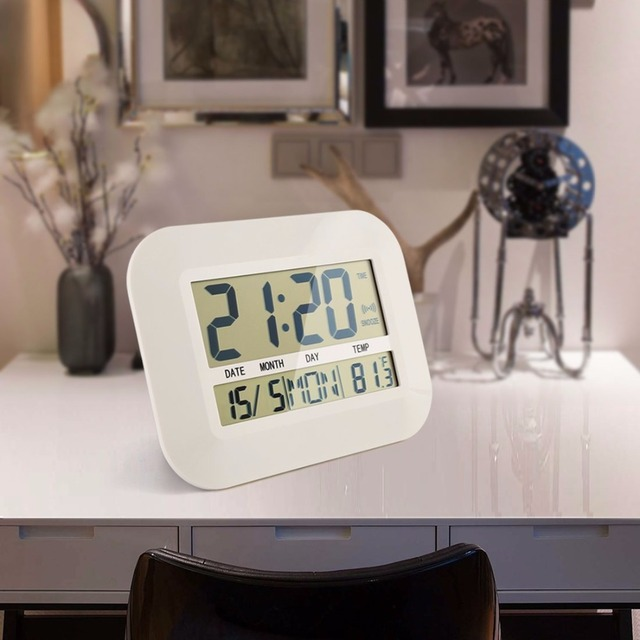 Big Number Large LCD Digital Wall Clock Table Watch Nixie Electronic Desk Bedside Alarm Clock with Temperature Snooze Calendar