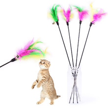 High Quality Pet Cat Toy Cute Design Kitten Cat Teaser Interactive Toy  Rod with Bell and Feather Products For pet Free shipping