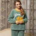 Pijamas de Inverno Espessamento Coral do Velo das mulheres Anime Pelúcia Pullover Meninas Sleepwear Flanela Set Lounge Pijama
