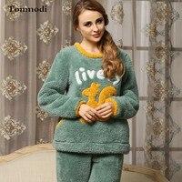 Autumn And Winter Thickening Coral Fleece Female Cartoon Plush Pullover Sleepwear Girls Flannel Lounge Set