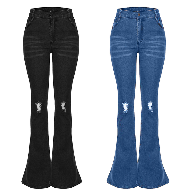 2019 High Waist Jeans Women Casual Bell Bottom Jeans Female Slim Elastic Flare Pants Women Distressed Hole Denim Pants Plus Size