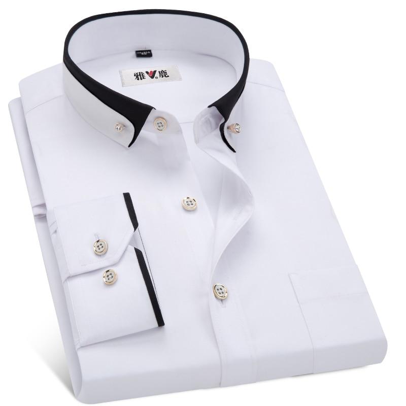 MACROSEA Men's Business Dress Shirts Male Formal Button-Down Collar Shirt Fashion Style Spring&Autumn Men's Casual Shirt 5