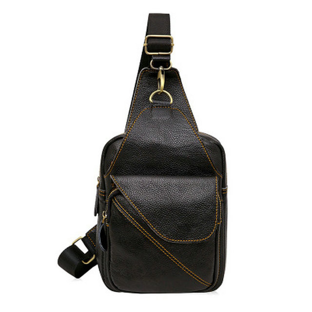 Chest Bags Leather Men s Bag Leather Men s Fashion Casual Chest Bag Version  Of The Shoulder Messenger 16ef219bef