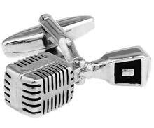 Запонки и Микрофон мужские с родиевым покрытием 2 шт