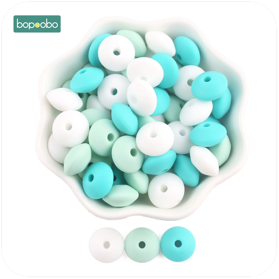 Bopoobo 200Pcs/Lot Lentil Abacus Round Silicone Beads Teething Baby Teether DIY Pacifier Chain Food Grade Silicone BPA Free