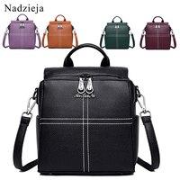 4 IN 1 Female Backpack Mochila Leather Backpack Women Fashion Ladies Bagpack School Bags for Girls Travel Back Pack